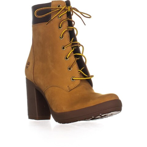 Timberland Camdale Block-Heel Combat Boots, Wheat Nubuck
