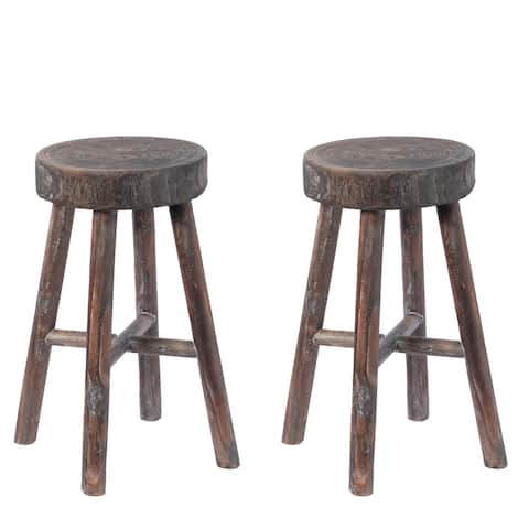 Antique Round Wooden Chair Log Cabin Stools Set of 2