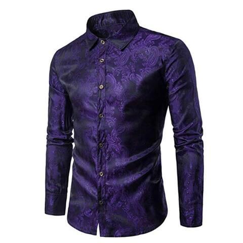 Paisley Long Sleeve Dress Button Down Casual Shirt