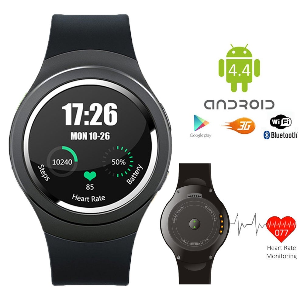 Indigi® A6 SmartWatch & Phone - Android 4.4 OS + Bluetooth 4.0 + Pedometer + Heart Monitor + WiFi (Factory Unlocked) - Thumbnail 0