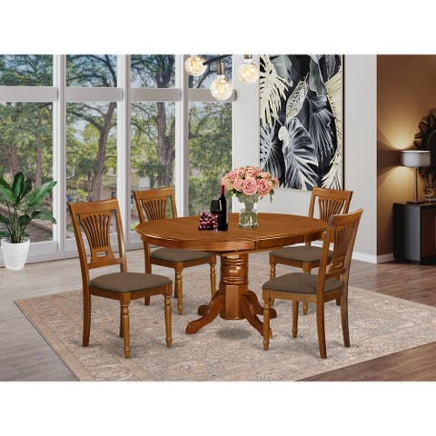 5-piece Oval Dining Room Table with Leaf and 4 Dining Chairs - Saddle Brown Finish (Pieces Option)