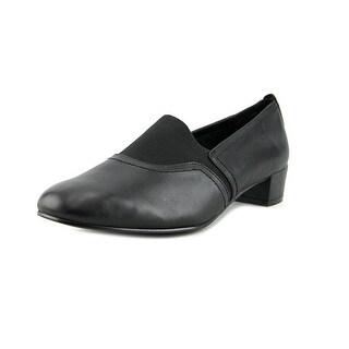 David Tate Glory Women W Round Toe Leather Black Loafer