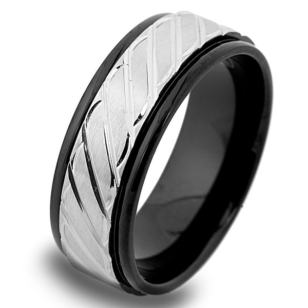 Black Plated Stainless Steel Band with Slanted Lines 8mm (Sizes 8-12)