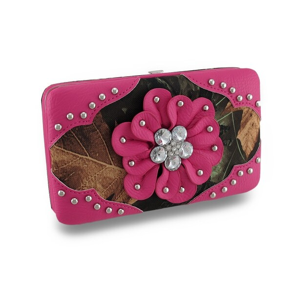 Forest Camouflage Hard Case Wallet w/Studded and Rhinestone Flower