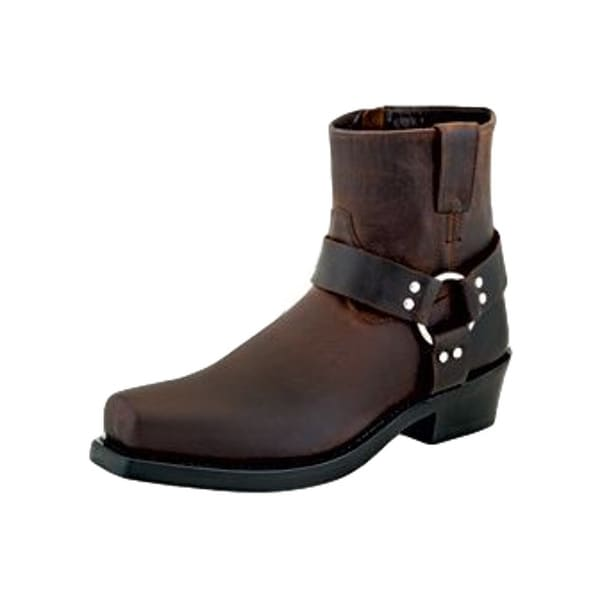 Old West Fashion Boots Mens Harness Ankle Rubber Goodyear Brown