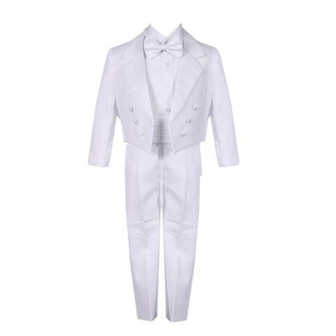 Baby Boys White 5 Piece Vest Jacket Pants Special Occasion Tuxedo Suit
