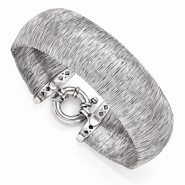 Italian Sterling Silver Polished and Textured Bracelet - 7.5 inches