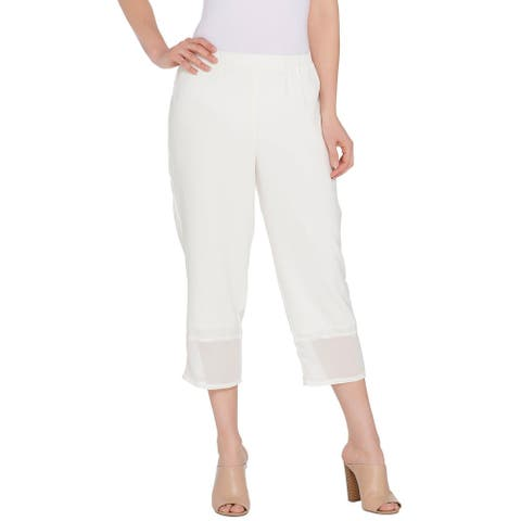 Linea by Louis Dell'Olio Womens Mixed Media Pull On Crop Pants 1X Ivory A304743