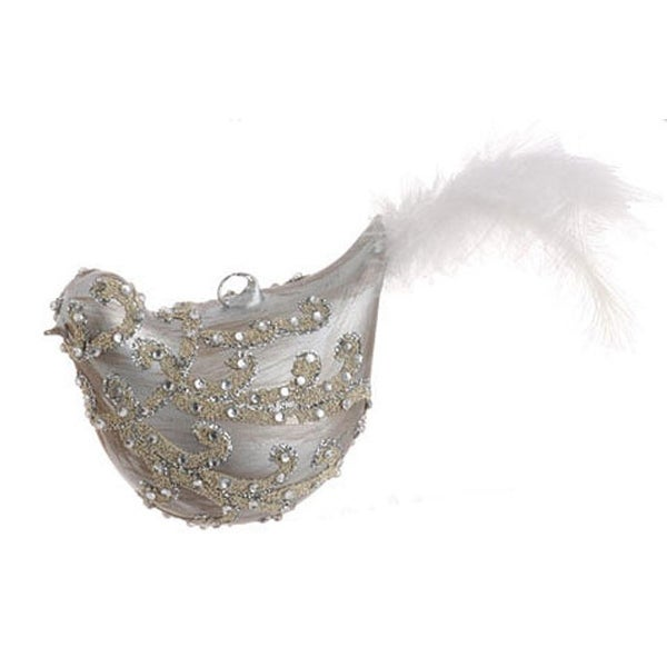 """7.5"""" Matte Gray Jeweled Glass Bird with Faux Feather Tail Christmas Ornament"""