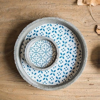 RusticReach Plant Saucer Cement Blue Pattern Plant Tray Set of 2