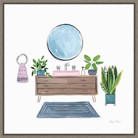 Green Bathroom I by Farida Zaman Framed Canvas Art