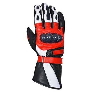 Motorcycle Carbon Fiber Knuckle Premium Natural Cowhide Biker Glove MG9-Red