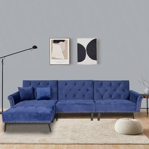 TiramisuBest Modern Rivet Upholstered velvet fabric Sectional Sofa