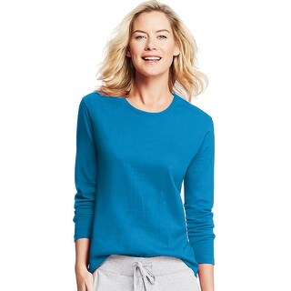 Hanes Women's Long-Sleeve Crewneck T-Shirt - Size - L - Color - Deep Dive