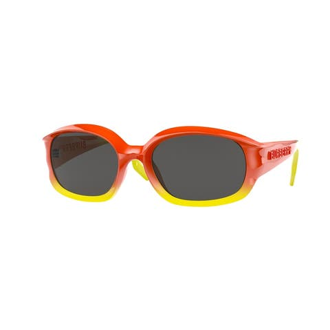 Burberry BE4338 393587 56 Orange/yellow Man Oval Sunglasses