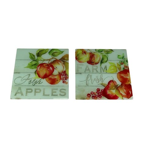 Farm Fresh Apples Decorative Beveled Glass Tile Wall Decor Set of 2 - 11.75 X 11.75 X 0.88 inches