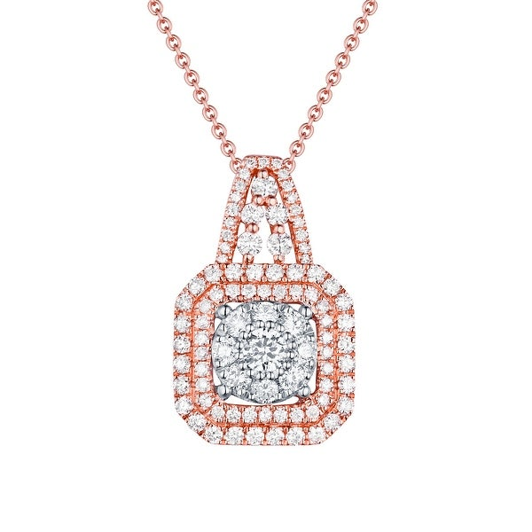 0.92ct G-H/SI1 Natural Diamond Designer Penadnt With 17 Inches Chain - White