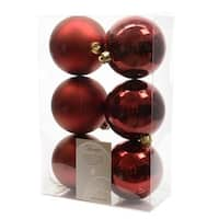6 Luxury Shatterproof Christmas Baubles Decorations 80mm - Oxblood Red