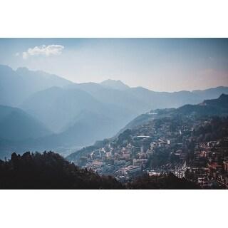 Mountains & Village Photograph Art Print