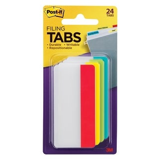 Post-it Filing Tabs, 3 x 1-7/10 in, Aqua, Lime, Yellow, Red, 8 Tabs per Color, Pack of 24