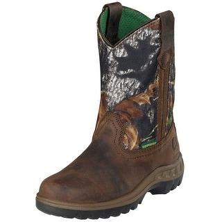 John Deere Western Boots Boys Kids Tramper Waterproof Tan Camo JD2468