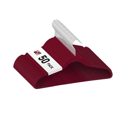 """OSTO Burgundy Velvet Non-Slip Standard Adult Hangers 50-Pack - 18"""" wide"""