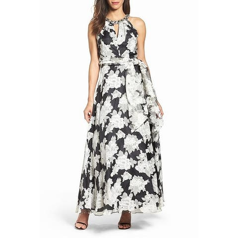 Eliza J Women's Dress White Black 12 Gown Floral Print Embellished n