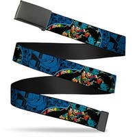 Blank Black Buckle Batman Blue Scene Webbing Web Belt
