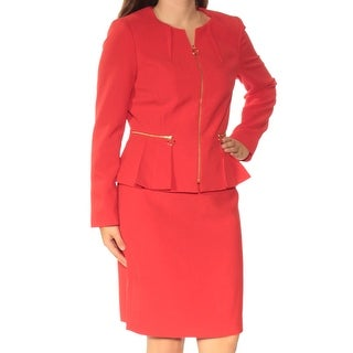 Womans Red Knee Length Pencil Wear To Work Skirt Suit Size 6