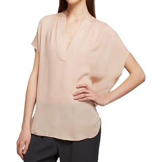 Vince Womens Pullover Top Silk Hi-Low