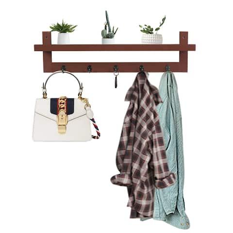 Brown Coat Rack Shelf, Coat Rack Wall-Mounted Wooden Hook Rack