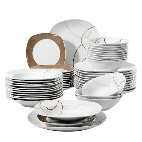 VEWEET 'Nikita' 48-Piece Porcelain Dinnerware Set, Service for 12