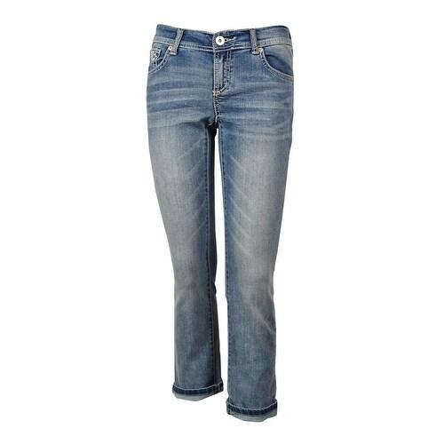INC International Concepts Women's Embellished Cropped Jeans - Indigo
