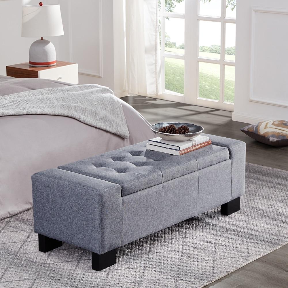 Fantastic Belleze 48 Rectangular Fabric Tufted Storage Ottoman Bench Large Slate Grey Uwap Interior Chair Design Uwaporg