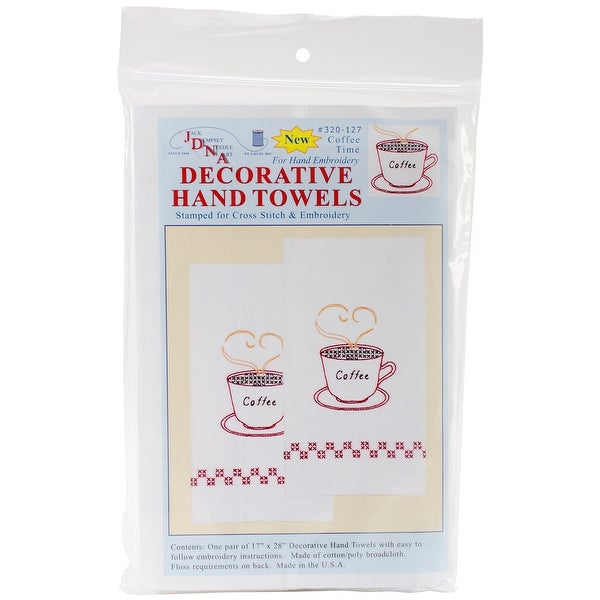 """Stamped White Decorative Hand Towel Pair 17""""X28""""-Coffee Time"""