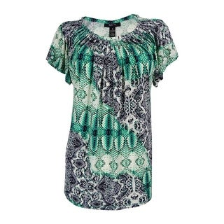Style & Co. Women's Printed Pleated Neck Top