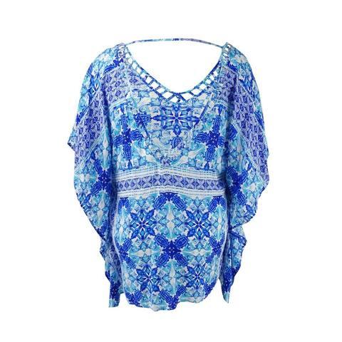 La Blanca Women's True Blue Tile-Print Cover-Up Tunic (Sapphire, S/M) - Sapphire - S/M