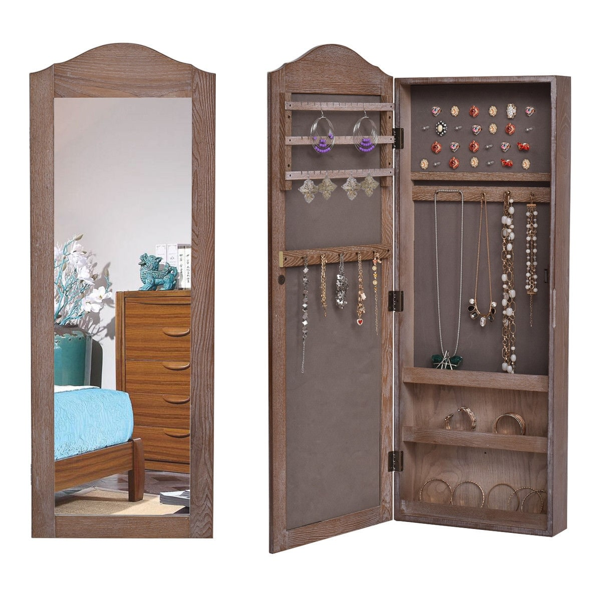 Shop Gymax Mirrored Jewelry Cabinet Armoire Storage Organizer Wall Hanging Overstock 22894242