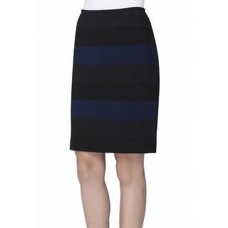 Tahari By ASL NEW Blue Black Striped 8P Petite Straight Pencil Skirt