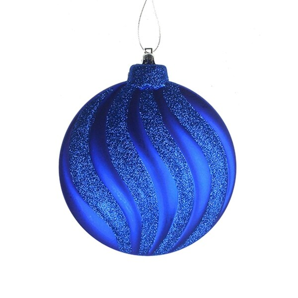 6ct Matte Lavish Blue Swirl Shatterproof Christmas Disc Ornaments 6.25""
