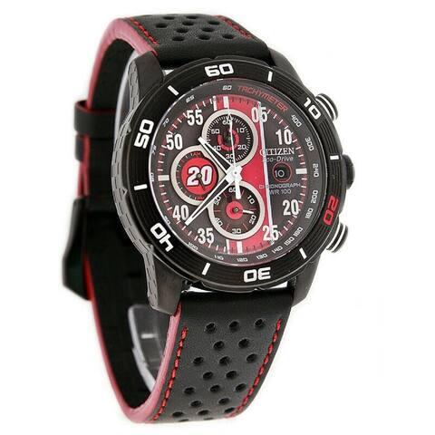 Citizen Men's CA0530-41E 'Primo Matt Kenseth' Chronograph Black Leather Watch - Multi