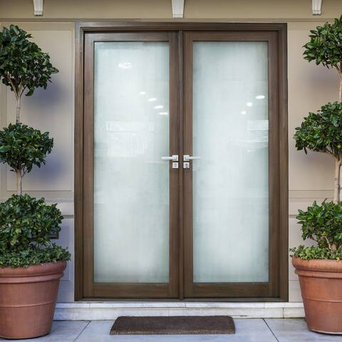 ALEKO Aluminum Glass-Panel Double Door with Frame - 72 x 84 inches - Chestnut