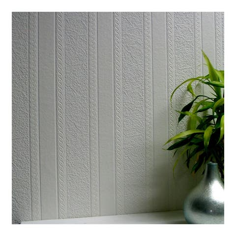 Blarney Marble Stripe Paintable Textured Vinyl Wallpaper - 20.9 x 396 x 0.025