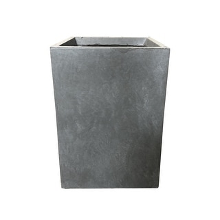 Ambai Grey Lightweight Concrete Tall Square Outdoor Planter by Havenside Home