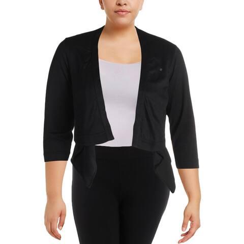 Michel Studio Womens Plus Jacket Fly-Away Open Front