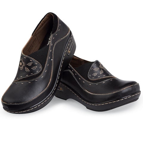 Women's Closed-Back Hand-Painted Leather Clogs