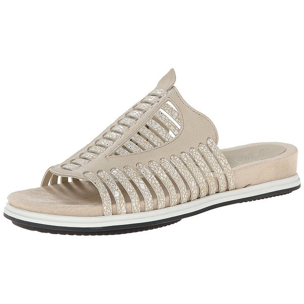 Naya NEW Taupe Beige Women's Shoes Size 6W Kicker Leather Slides