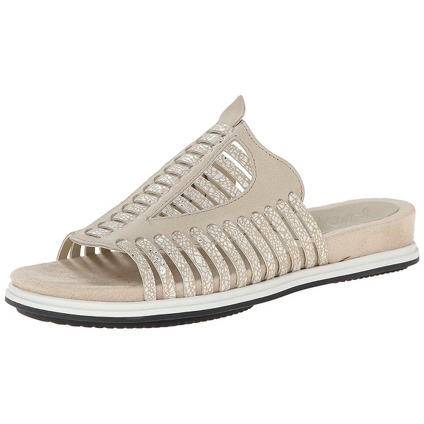 Naya NEW Taupe Beige Women's Shoes Size 7W Kicker Leather Slides