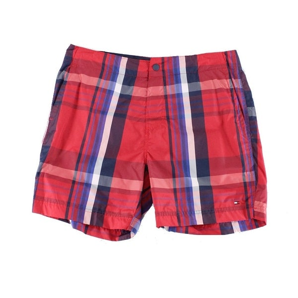 8872cd1685 Shop Tommy Hilfiger Red Mens Size XL Plaid Print Board Surf Shorts - Free  Shipping On Orders Over $45 - Overstock - 22132513