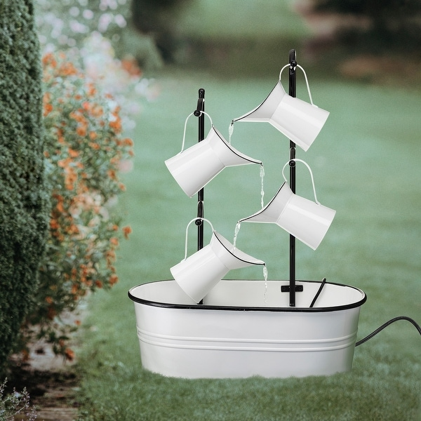 """Glitzhome 33.25""""H Farmhouse Metal Four-Pitchers Fountain. Opens flyout."""